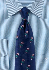 Classy Navy Tie with Embroidered Candy Canes