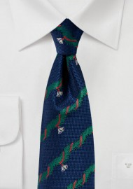 Navy Tie with Christmas Garland