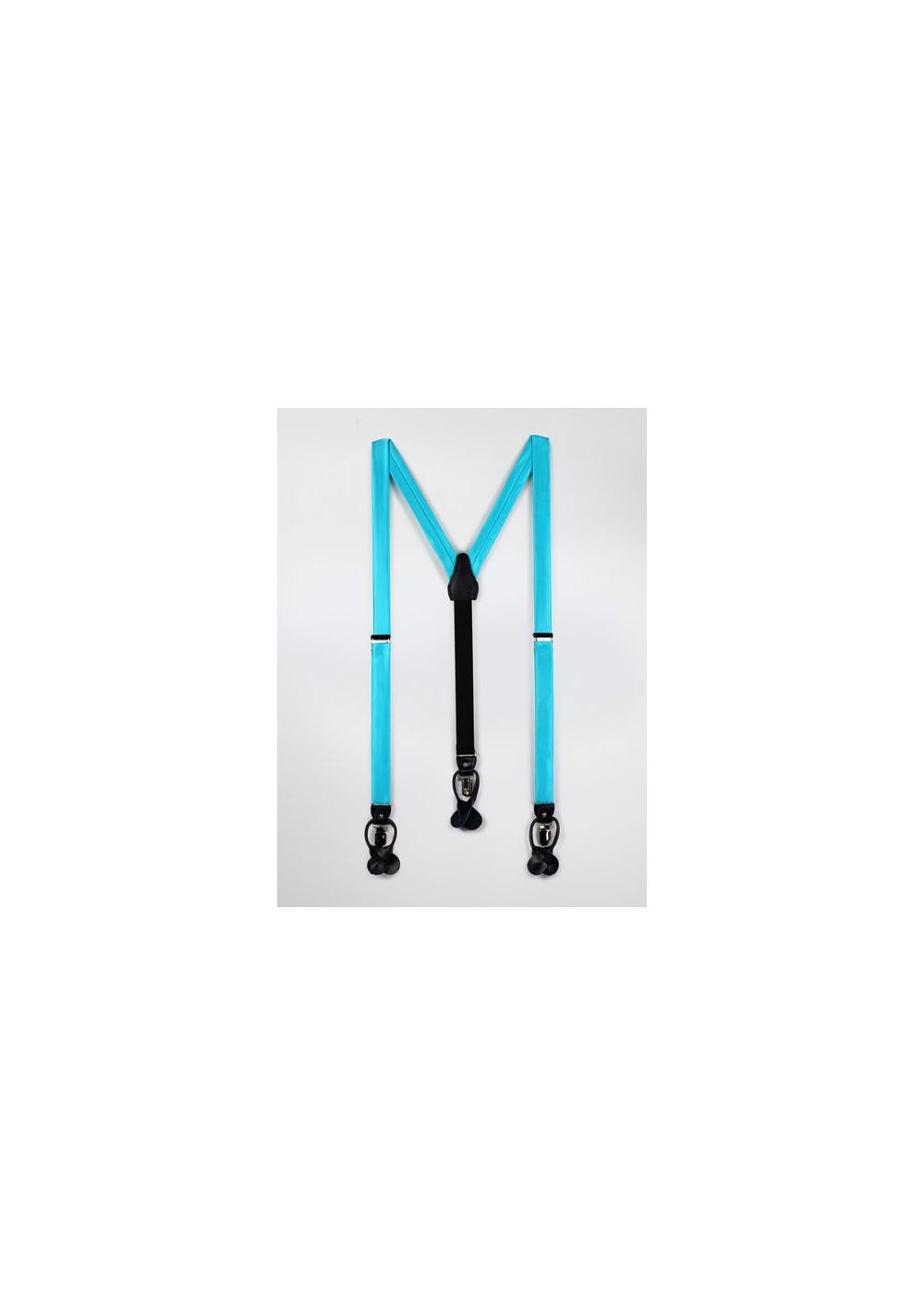 Bright Aqua Blue Suspenders