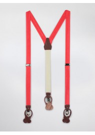 Neon Coral Mens Suspenders