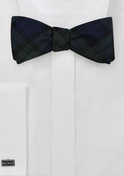 Tartan Plaid Bow Tie in Green and Navy