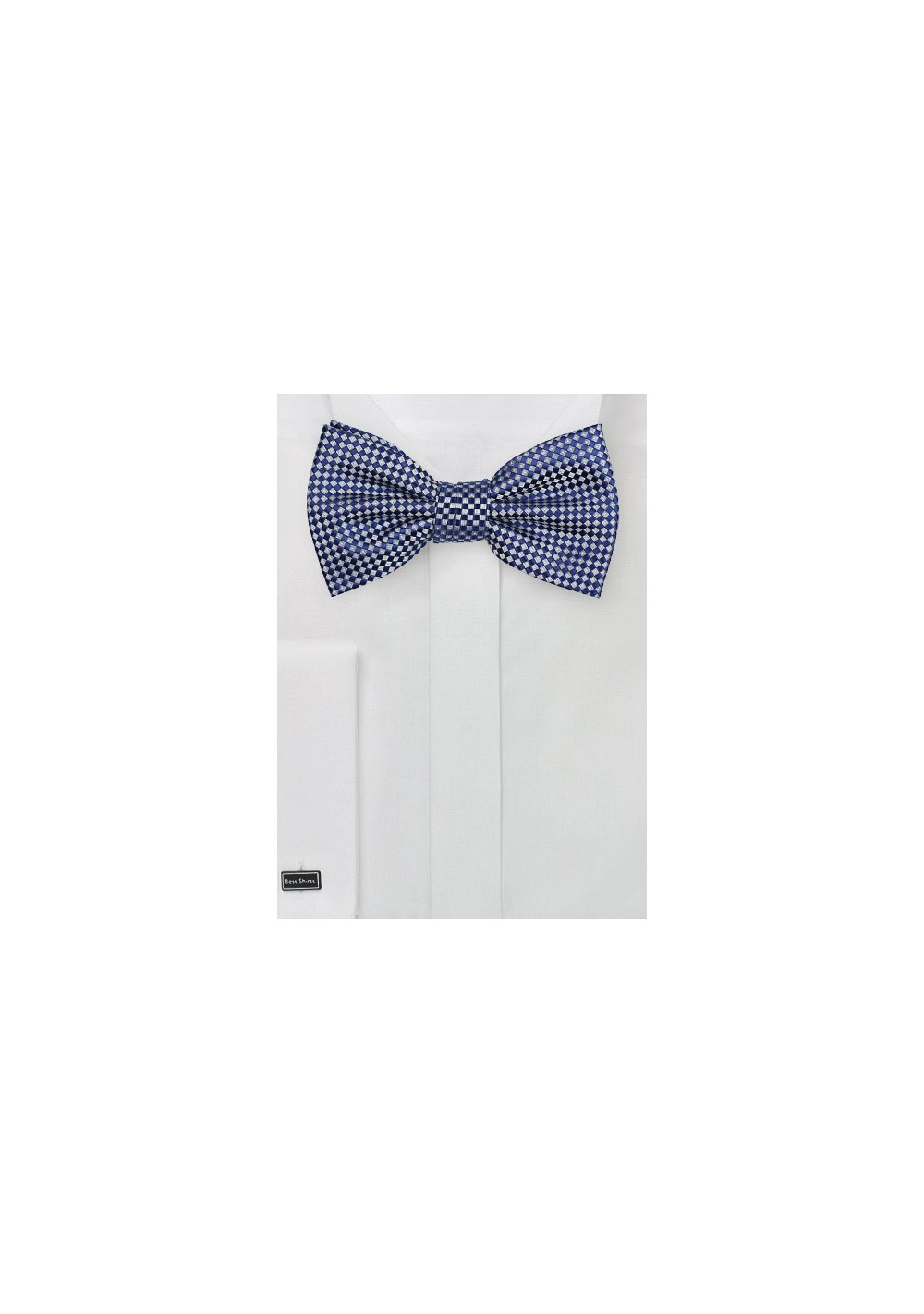 Royal Blue and Silver Diamond Pattern Bow Tie