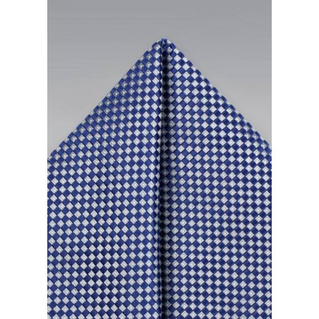 Diamond Check Hanky in Blue and Silver