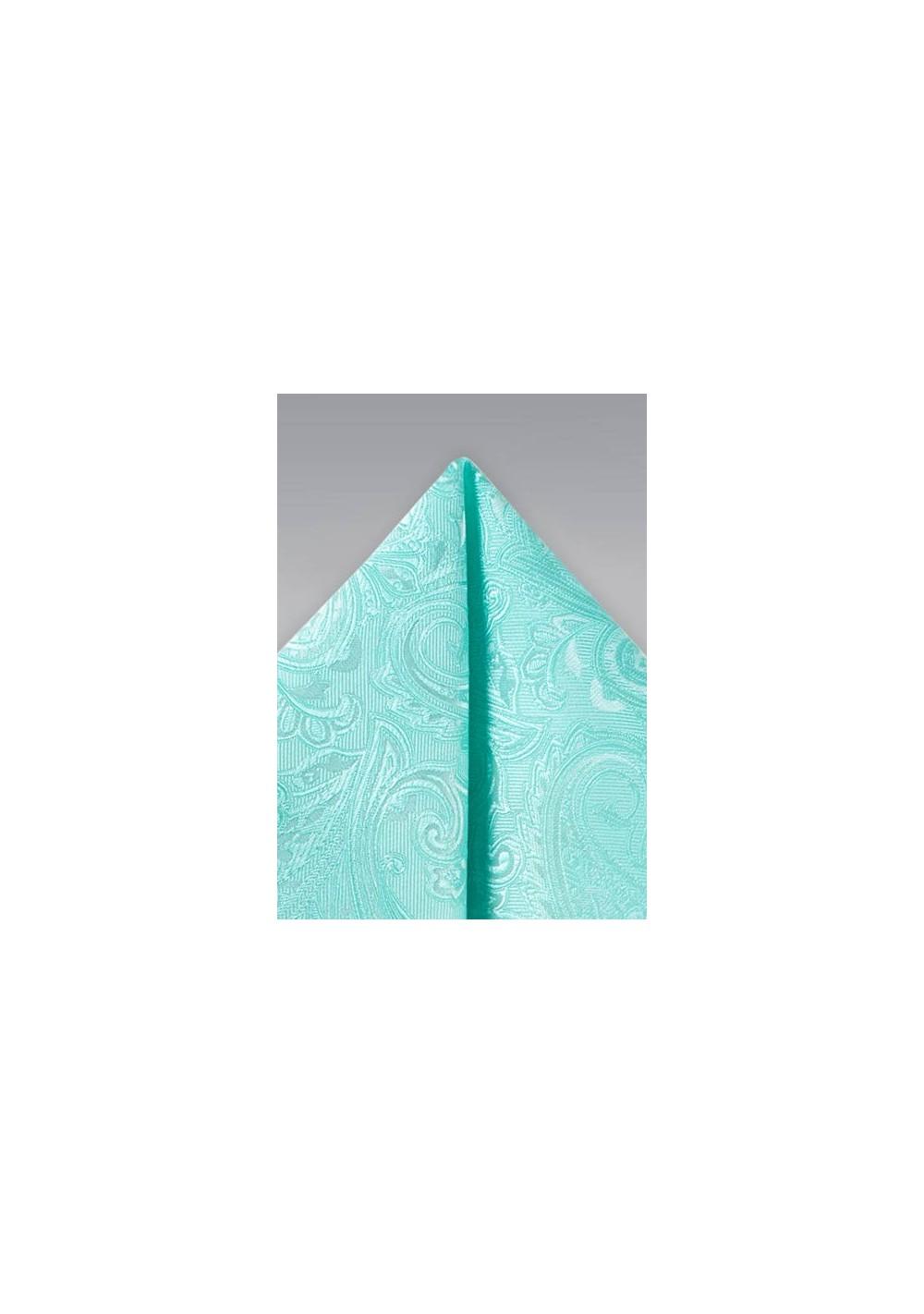 Fresh Aqua Paisley Pocket Square