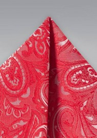 Poppy Color Paisley Pocket Square