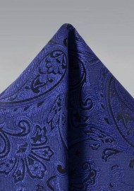 Paisley Pocket Square in Ultramarine