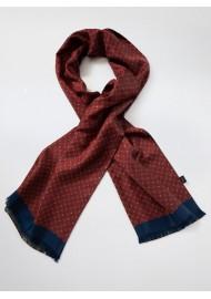 Victorian Designer Print Silk Scarf in Chestnut, Maroon, Navy
