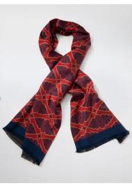 Persian Geometric Print Silk Scarf in Maroon, Navy, Gold