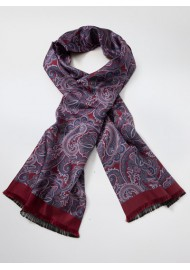 Persian Paisley Print Scarf in Burgundy, Lilac, and Lavender