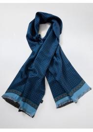 Classic Foulard Print Silk Scarf in Blues
