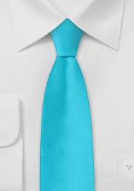 Solid Aqua Blue Skinny Tie
