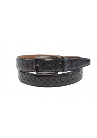 Braided mens leather belt black dressy