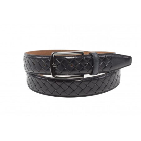 Braided mens leather belt black dressy