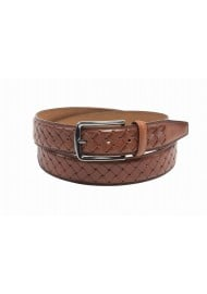 cognac brown mens leather belt braided leather strap