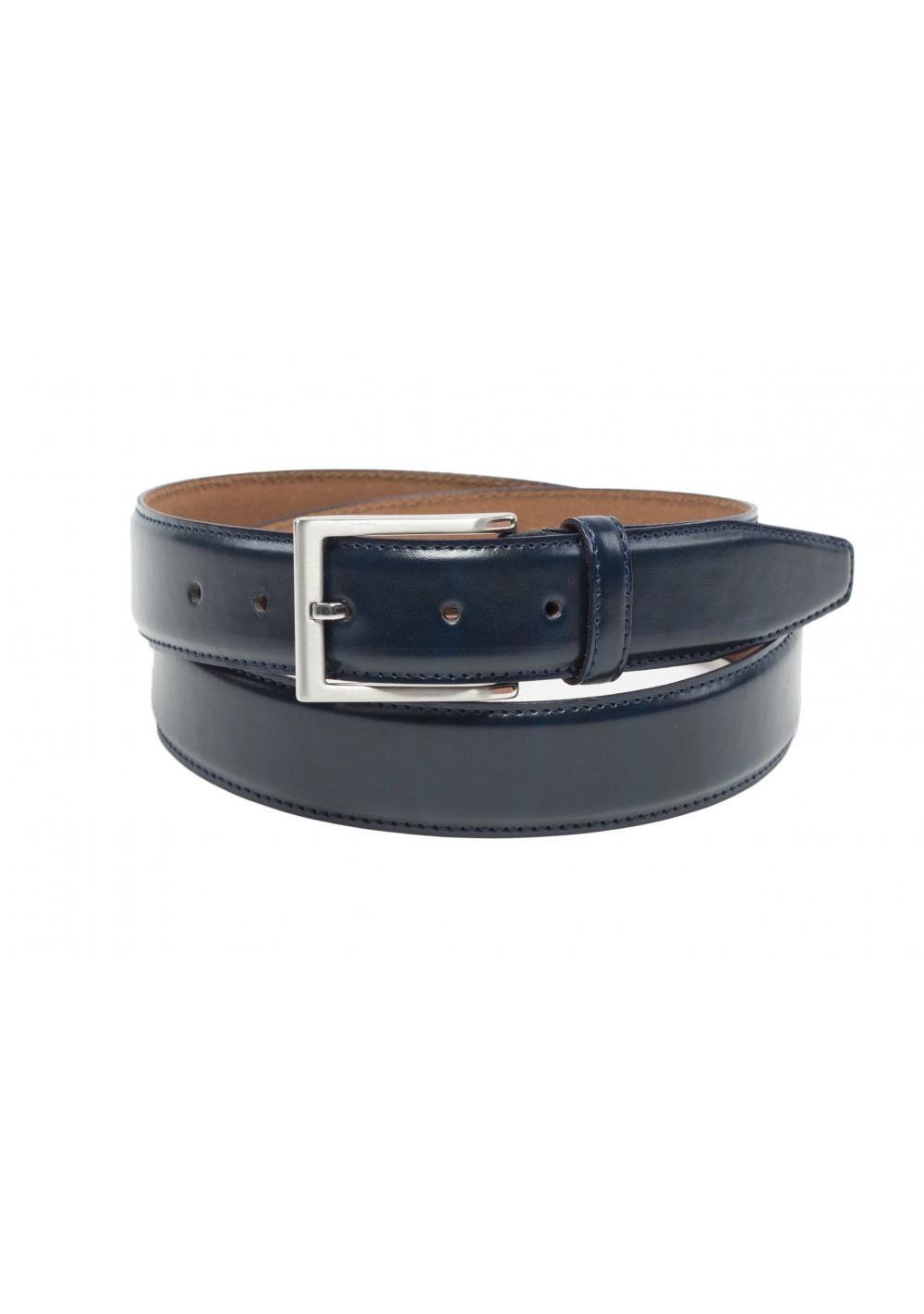 marine navy blue mens leather dress belt