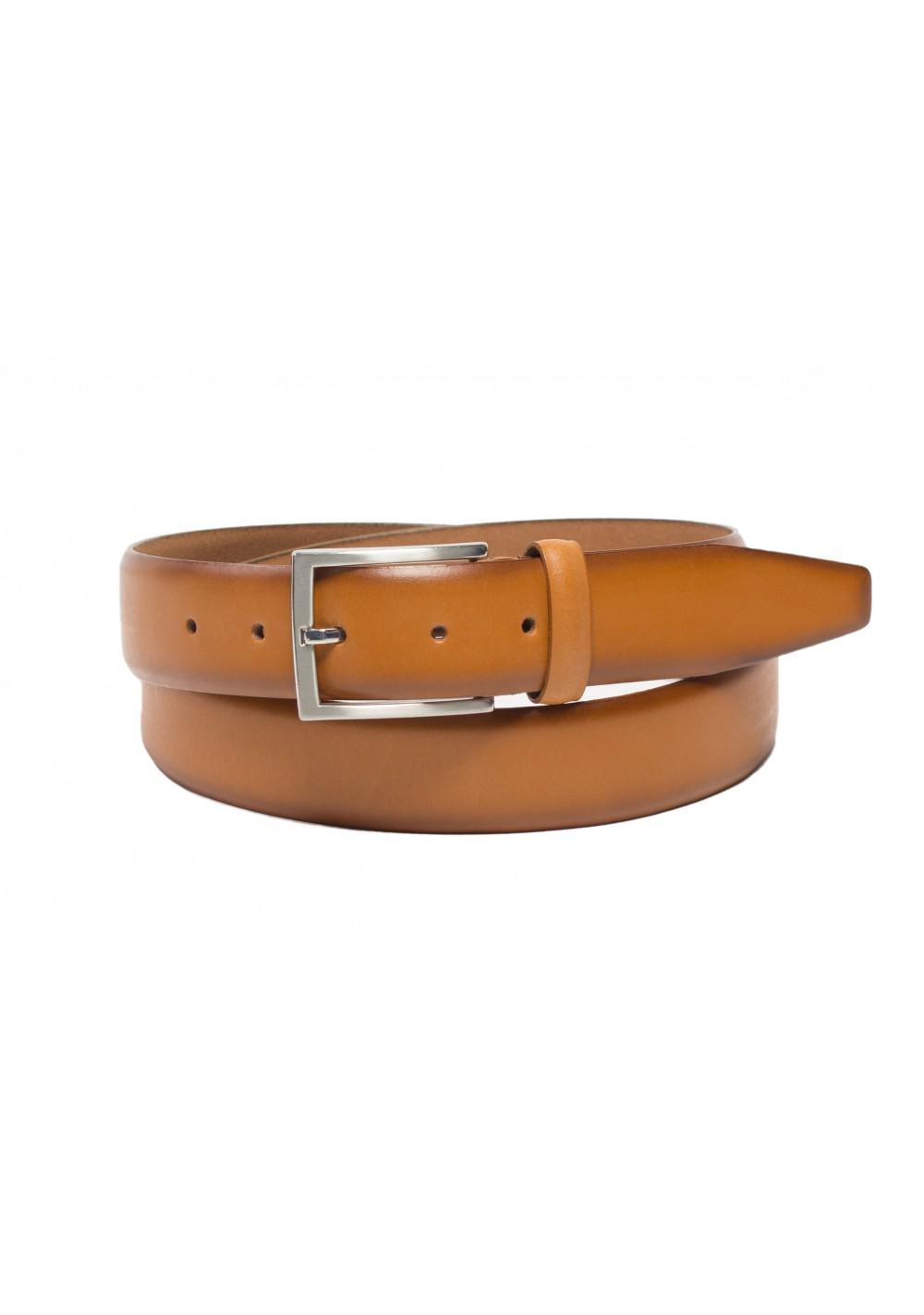cognac tan brown elegant leather dress belt mens