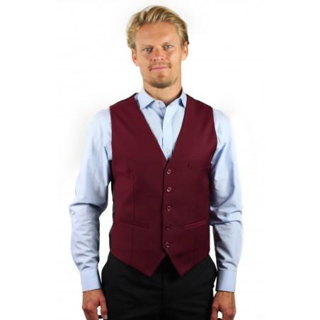 styled burgundy vest
