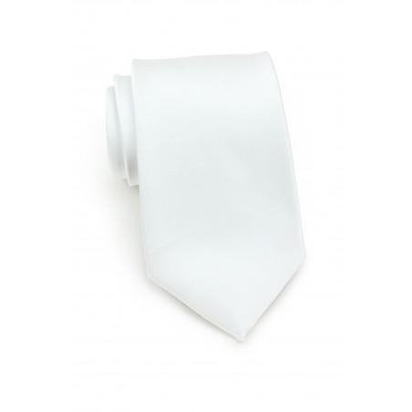 solid satin tie in bright white