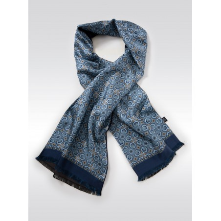 Retro Print Silk Scarf in Light Blues and Gold