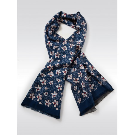 Navy Silk Scarf with Japanese Floral Print