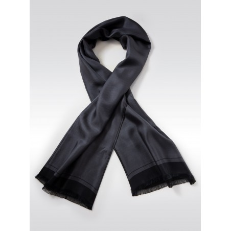 Solid Charcoal Gray Silk Scarf