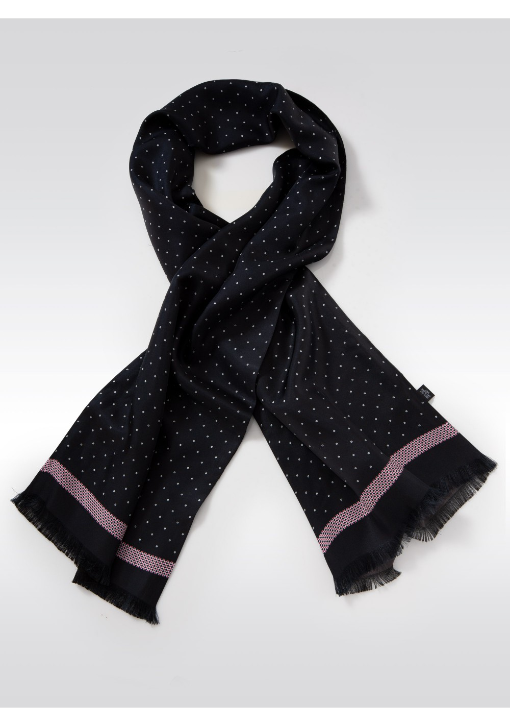 Charcoal Silk Scarf with Fine Circle Print