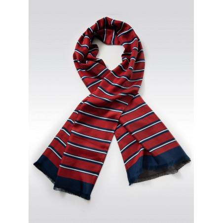 Vintage Striped Silk Designer Scarf
