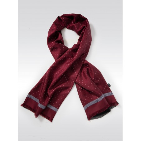 Maroon Autumn Silk Scarf in Dot Design