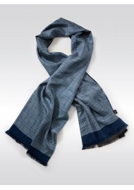Glen Check Silk Scarf in Blue