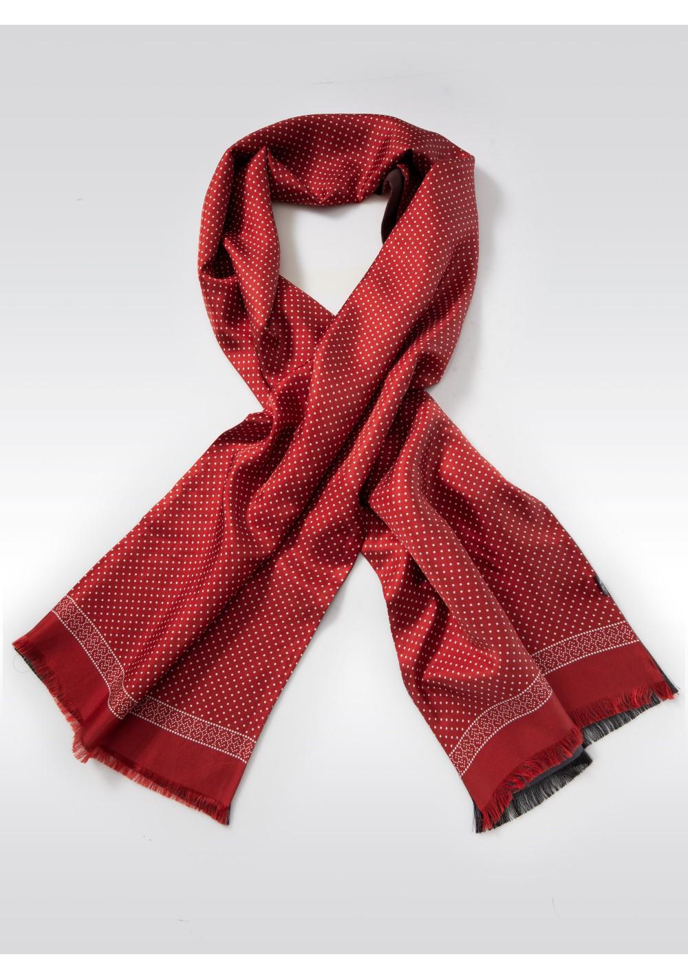Fine Dot Design Silk Scarf in Terracotta Red