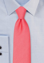 Linen Texture Necktie in Sunset Coral