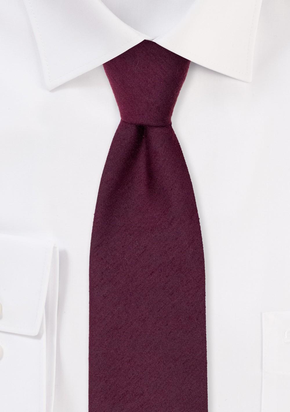 Woven Woolen Burgundy Mens Tie