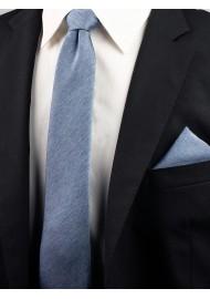 Steel Blue Necktie in Matte Woolen Finish
