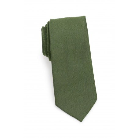 Olive Green Tie with Woolen Finish Rolled