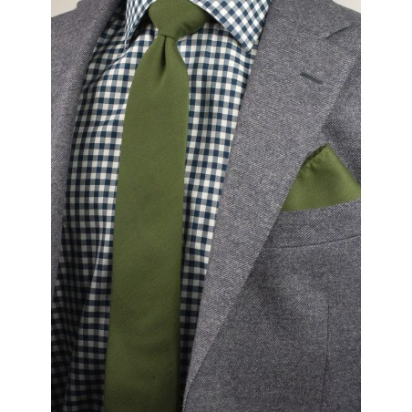 Olive Green Tie with Woolen Finish Styled