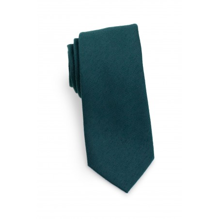 Woolen Tie in Forest Green Rolled