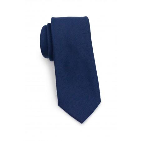 Matte Finish Tie in Navy Blue Rolled