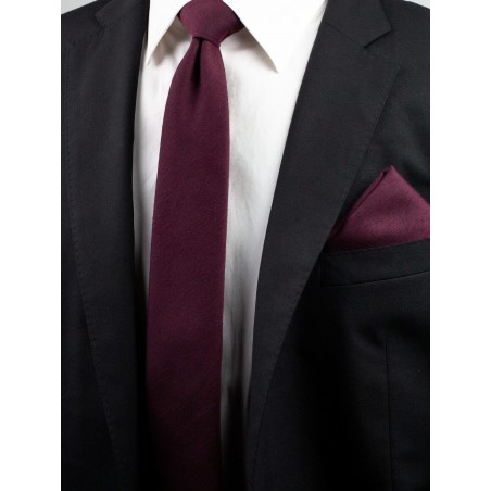 Woven Woolen Burgundy Mens Tie Styled