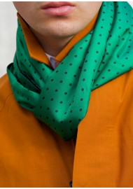 silk scarf in kelly green with polka dots