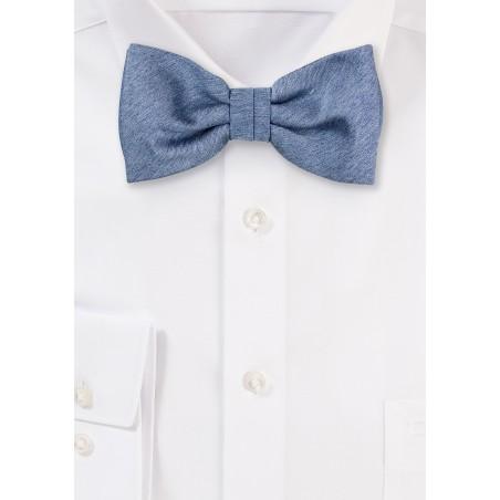 Steel Blue Matte Woven Bow Tie