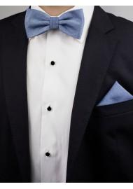 Steel Blue Matte Woven Bow Tie Styled
