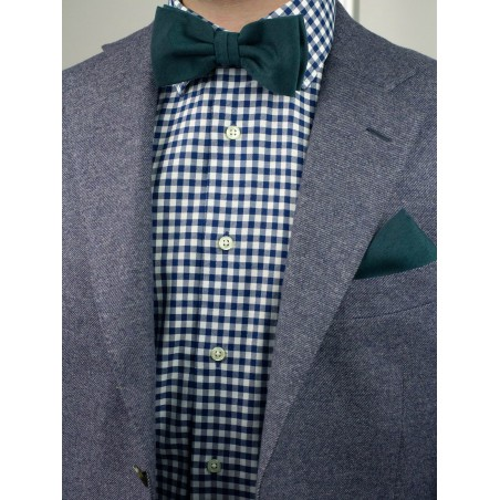 Matte Woven Bow Tie in Forest Green Styled