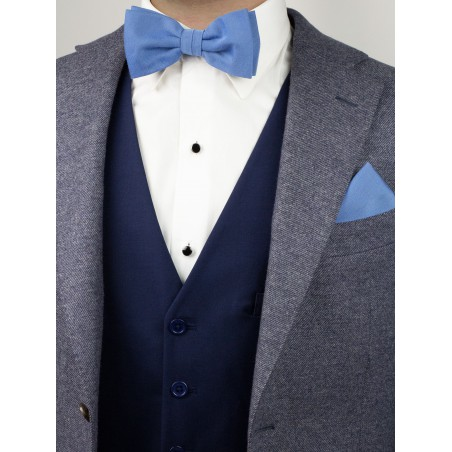 Ash Blue Woolen Bow Tie Styled