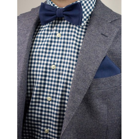 Mens Bow Tie in Navy with Matte Woolen Finish Styled