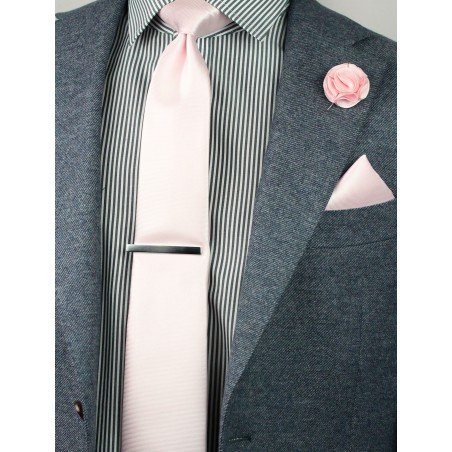blush necktie hanky and lapel pin