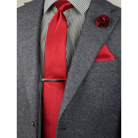elegant cherry red necktie set