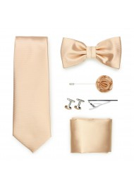 golden champagne formal tie set