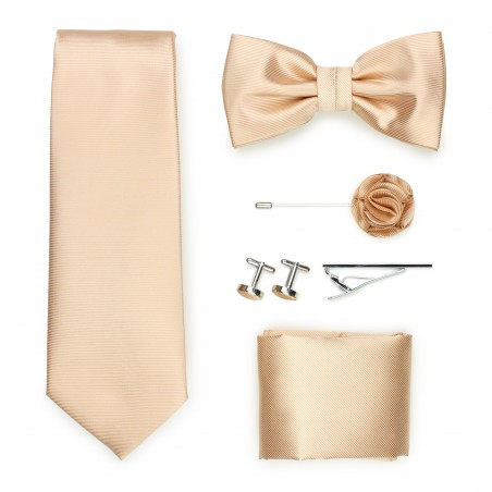 golden champagne formal tie set