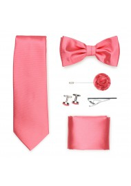 coral pink mens formalwear tie set