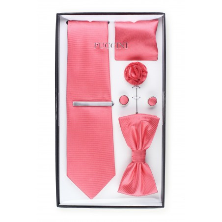 groomsmen gift set in coral red pink